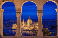 Illuminated Hungarian parliament building by night, Budapest, Hungary