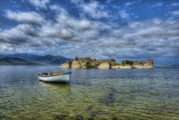 Clouds over boat on sea, Milas, Turkey