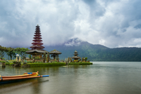 Hinduist temple and pagoda on lake waterfront of Pura Ulun Danu Bratan, Bali, Indonesia