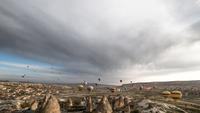 Hot air balloons over rock formations, Goreme, Cappadocia, Turkey