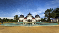 Front view of Baiturrahman Grand Mosque, Aceh, Indonesia