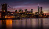 Brooklyn Bridge at night, New York City, New York State, USA