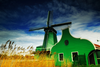 Green windmill, Amsterdam, Holland