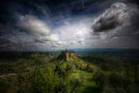 City of Bagnoregio under overcast sky, Viterbo, Italy