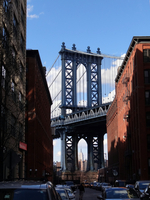 View of Manhattan Bridge from one of adjoining streets, Dumbo, Brooklyn, New York, USA