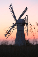 Windmill at sunset, Norfolk, East of England, UK