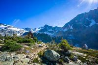 Cabins against mountains, British Columbia, Canada