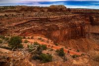 Bike riders on rock in desert landscape, Canyonlands, Utah, USA