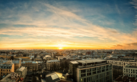 Sunset over rooftops, Saint-Petersburg, Russia