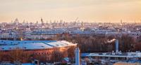 Industrial cranes in city, Saint-Petersburg, Russia