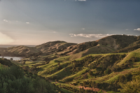 Green hills and lake in distance, New Zealand