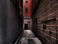 Narrow alley between buildings, Wan Chai, Hong Kong, China