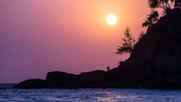 Beautiful sunset over tropical island, Goa, India