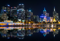 Illuminated city by night, Melbourne, Australia