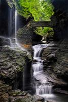 Watkins glen bridge and waterfall, Watkins Glen State Park, New York, USA