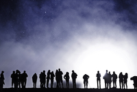 People waiting for eruption of volcano, Haleakala, Maui, Hawaii, USA