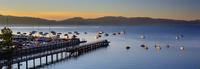 Boats on Lake Tahoe at sunrise, Tahoe City, California, USA