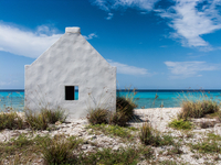 Former slave hut on sea shore, Bonaire, ABC Islands, The Netherlands