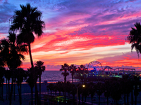 Sunset over Santa Monica Pier area, California, USA