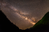 Milky Way between mountains, Thessaly, Greece