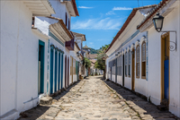 Alley with old buildings, Rio de Janeiro, Brazil