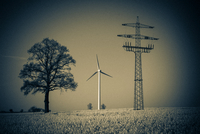 Windmill, tree and Utility pole on field