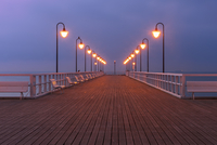 Illuminated pier, Gdynia, Poland
