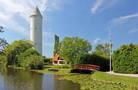 Water tower over river, Denmark