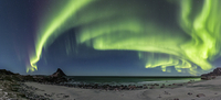 Northern lights over seaside at night, Bleik, Nordland, Norway