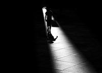 Silhouette of boy (8-9), Berlin, Germany