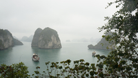 Rocks standing out from sea, Ha Long Bay, Vietnam