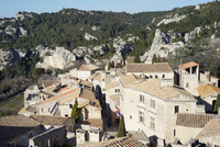 Rooftops of village buildings, Les beaux de Provence, France