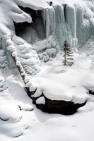 View of frozen waterfall, Banff, Alberta, Canada