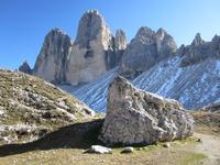 Three peaks of Tre Cime di Lavaredo in Sexten Dolomites, Cortina dAmpezzo, Veneto, Italy