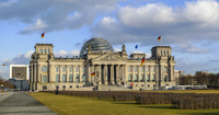 Bundestag on cloudy day, Berlin, Germany
