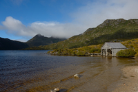 Boat shed on dove lake, Tasmania, Australia