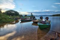 Docked boats on Empangan Timah Tasoh, Beseri, Perlis, Malaysia