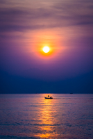 Single lone boat in sea, Thailand