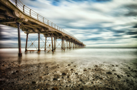 Low angle view of bridge against cloudy sky, Saltburn-by-the-Sea, North Yorkshire, England