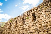 Stone walls of Machu Picchu Incan ruins, Cuzco Region, Peru