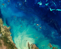 Satellite image of Great Barrier Reef, Queensland