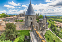 Medieval bastion of fortified town, Carcassonne, France