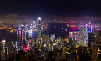 Night view of Victoria Harbor, Hong Kong, China