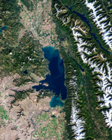 Satellite photo of Flathead Lake, Montana, USA