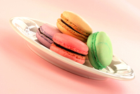 Colorful macarons on plate