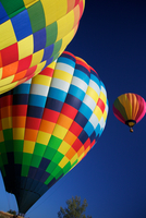 Hot air balloons against clear blue sky, Napa Valley, California, USA