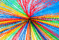 Colorful flags during Festa de Sao Joao do Porto festival, Porto, Grande Porto, Portugal