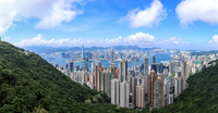 Scenic panoramic landscape with modern city, Hong Kong, China