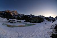 Frozen lake and mountains, Alagna Valsesia, Piedmont, Italy