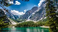 Dolomites over Pragser Wildsee, Prags, South Tyrol, Italy